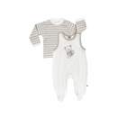 JACKY Strampler Set BEAR off-white ringel